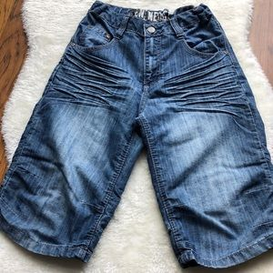 Boys skater style adjustable waist jean shorts 10